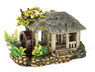 Thatched Cottage with Air Operated Water Mill Fish Tank Cave Decoration 3050