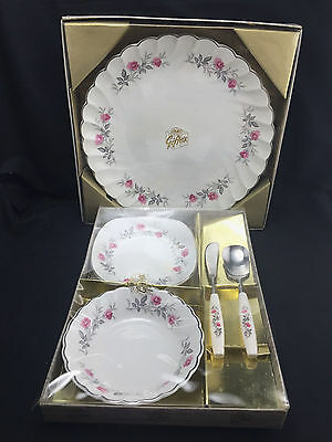 Myott Ironstone Royal Bride Giftex Set Plate Jam Butter Bowls Knife Spoon