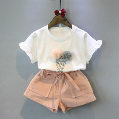 2PCS Baby Kids Girls Summer Outfits Toddler Top Shirt + Pants Shorts Clothes Set