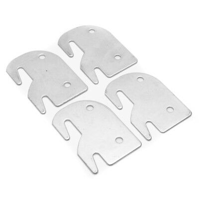 Set of 4 Iron Universal Wood Bed Rail Replacement Metal Claw Hook Plates Silver