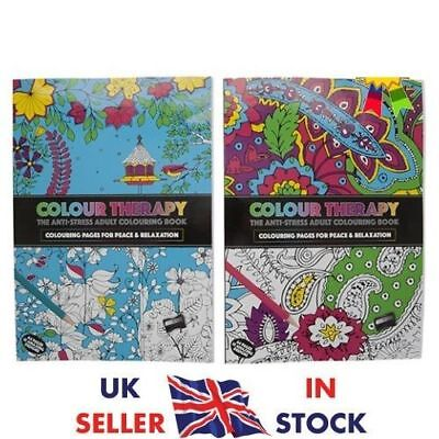 Adult Colouring Colour Therapy Anti Stress 64 Page A4 Book Uk