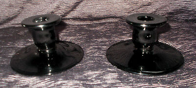 Pair of Vintage Black Glass Candle Holders