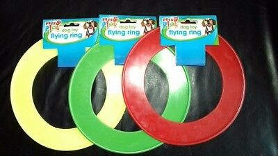 """Dog Toy Flying Ring Disc Play Pet 8"""" Frisbee Garden Games Outdoor Soft"""