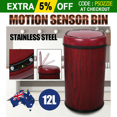 OZ Stainless Steel Sensor Motion Rubbish Bin Automatic Dustbin Trash Kitchen Red