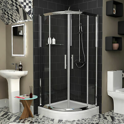 Double Sliding Door Quadrant Walk In Shower Enclosures With Acrylic High Tray