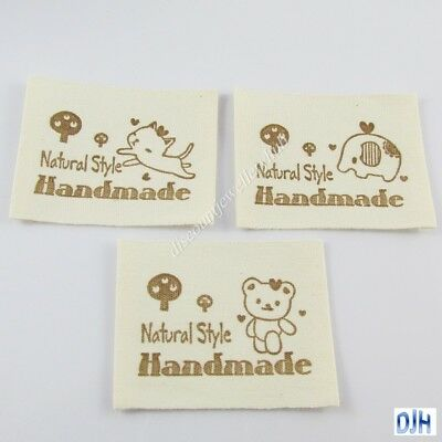20pcs DIY Woven Cotton Natural Style Handmade Sewing Label 45x15mm Select Design