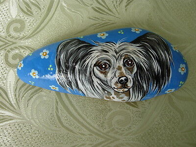 Chinese Crested  Handpainted Paperweight - Natural Stone #7