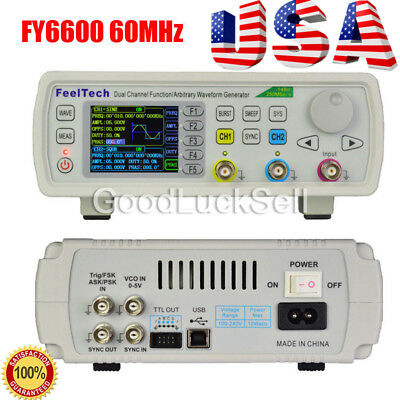 FY6600 60MHz Dual Channel DDS Function Signal Generator Waveform 20Vpp US SHIP!