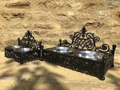 Stainless Steel Bowls & Cast Iron Raised Stand Dog Cat Food Water Feeding Dishes