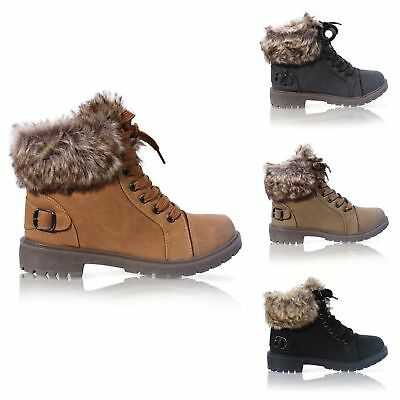 Ladies Faux Fur Grip Sole Winter Warm Ankle Womens Boots Trainers Shoes Size