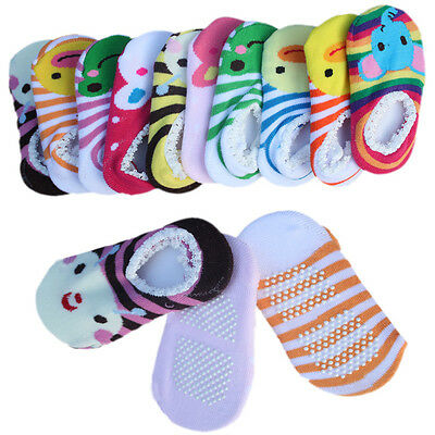 BABY GIRLS BOYS NON-SLIP SOCKS COTTON SHORT SHOES SLIPPERS NEWBORN TODDLER ^ddL