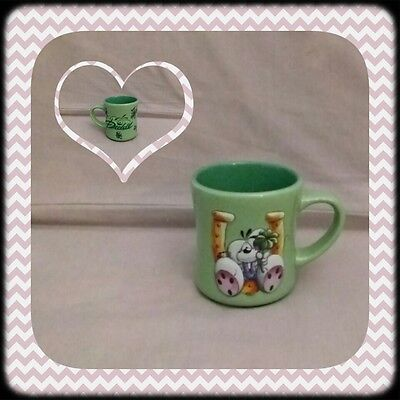 Diddl Mug Tasse Relief Vert Trèfle a 4 feuilles et fer a cheval TBE