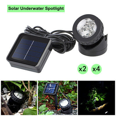 2X/4X Solar Spotlights 6 LED Underwater Projection Lights Garden Pond Lighting