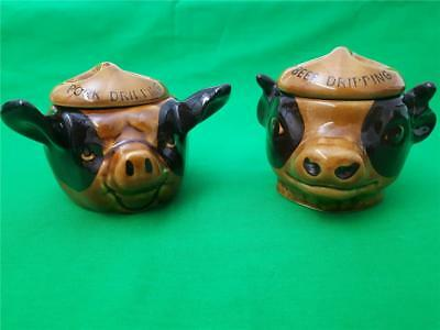Two Vintage Szeiler Ceramic Pots Beef Dripping Cow Pork Dripping Pig (f)