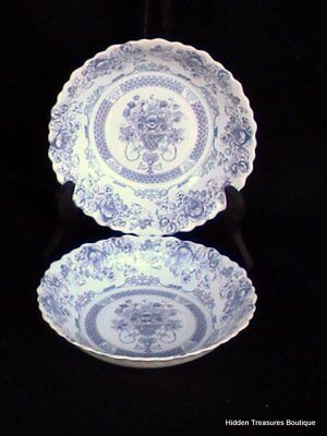 Arcopal France Honorine 2 Soup Salad Cereal Bowls Blue/White Floral Roses
