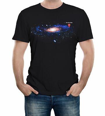 Men's You Are Here T-Shirt Space Map Stars Science Solar System Galaxy Infinity