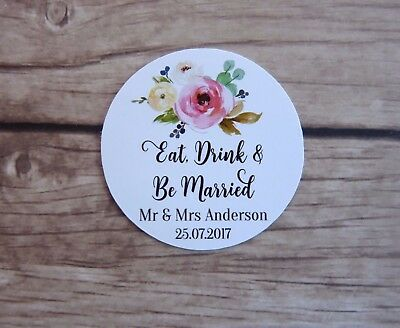 24 Personalised Stickers - Wedding, Eat Drink & Be Married, Thank You Tag