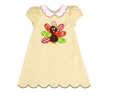 NWT Thanksgiving Turkey Applique Yellow Gingham A-Line Dress with Brown Trim