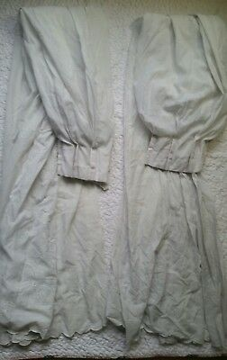 """Pair Vintage Window Curtains Swag Drapes White Embroidered Flowers 38"""" × 80"""" MCM"""
