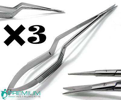 "3 Pcs New Micro Scissors 7.5"" Yasargil Sharp/Sharp Straight Surgical Instruments"