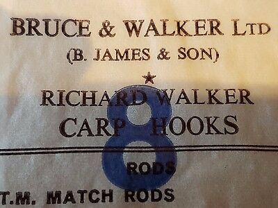 Two Packs of Bruce & Walker Ltd (B James & Son) Richard Walker Carp Hooks Size 8