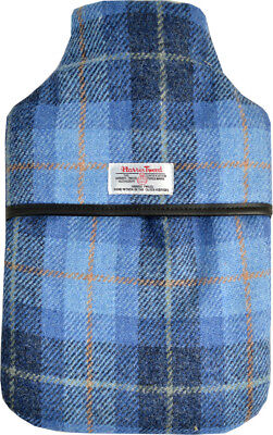 100% Pure Wool Blue Check Harris Tweed 2L Hot Water Bottle with Padded Cover