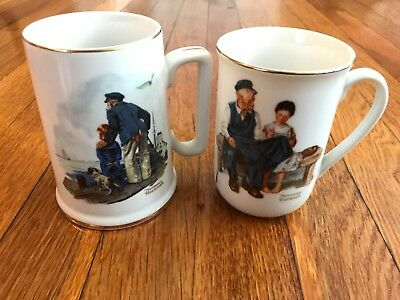 Vintage Coffee Mugs Norman Rockwell Museum Collection 1982 & 1985 Tea Cups