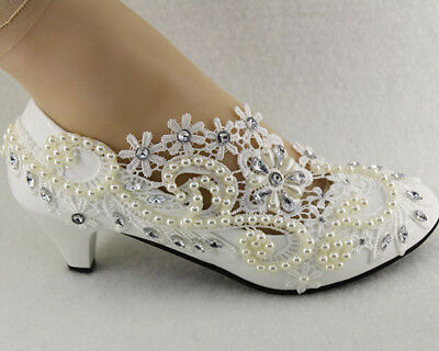 Lace white ivory crystal Wedding shoes Bridal high heel pump party Size