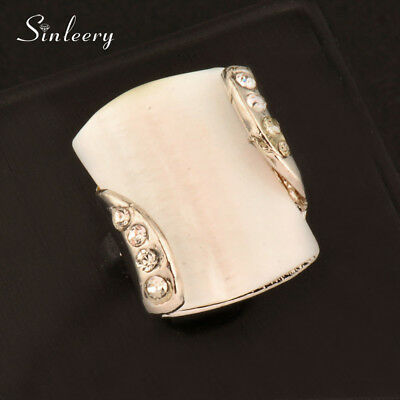 5 Patterns Big White Romantic Geometric Natural Shell Crystal Statement Rings