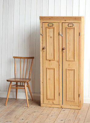Vintage Antique Victorian Wooden Pine Double Locker Cupboard