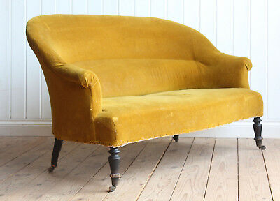 Vintage Antique Early 20th Century Mustard French Nursing Tub Sofa Victorian