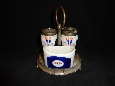 """Rare 19th.c Antique Gaudy Welsh Condiment Set with Stand,  England, 5-1/2"""" Tall"""