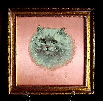 Framed White Persian Cat Portrait Hand Painted on Satin