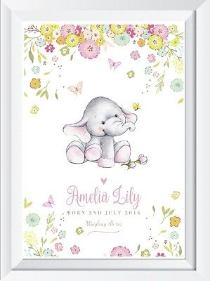 Personalised baby girl elephant name print picture nursery art gift christening