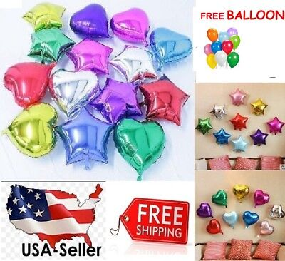 "10""/18"" Star / Heart Foil Balloon Birthday Baby Shower Bride Party FREE GIFT"