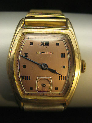 Crawford 10K GOLD Art Deco  Vintage Swiss Watch
