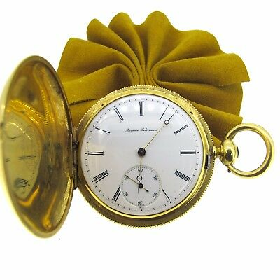 18k Yellow Gold Auguste Saltzman Antique 1800s Pocket Watch Key & Pub 44MM