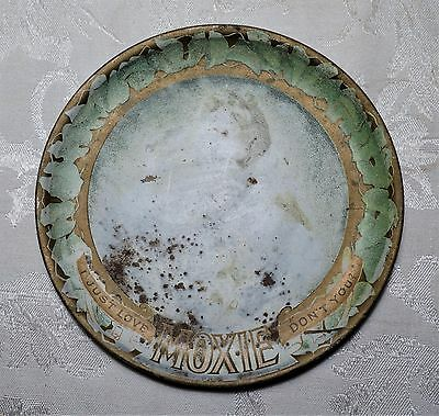 """Moxie Soda Advertising Saloon Tip Tray 6""""   RARE Antique Victorian Plate c. 1906"""