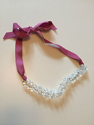 Crewcuts Girls Beaded Necklace One size 6 7 8 9 10 EUC Ribbon Tie