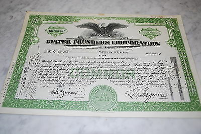 Stock Certificate - UNITED FOUNDERS CORPORATION – MARYLAND 1930