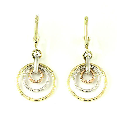 10k White/Yellow/Rose Gold drop earring(new, weight: 2.3g)#3166