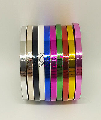 Nail Art Striping Tape Metallic Effect Colours In Sets Of 10
