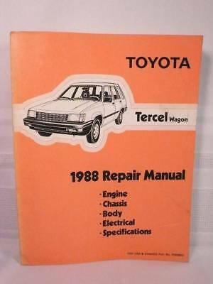 1988 TOYOTA TERCEL WAGON AL25 Series Shop Service REPAIR MANUAL Good Condition