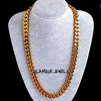 New 18k Yellow Gold Plated 24in Cuban Chain Necklace 10MM