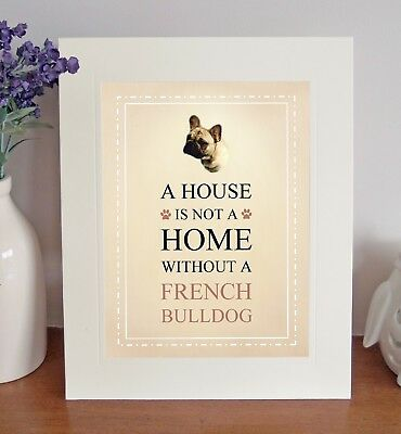 French Bulldog 8 x 10 Free Standing A HOUSE IS NOT A HOME Picture 10x8 Dog Print