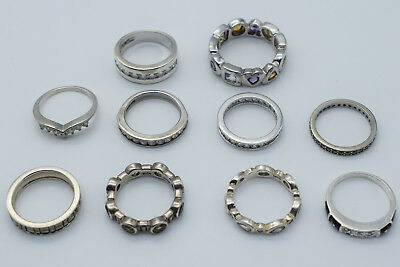 Lot of 10 Sterling Silver Lady Rings - Mixed Design & Sizes #01