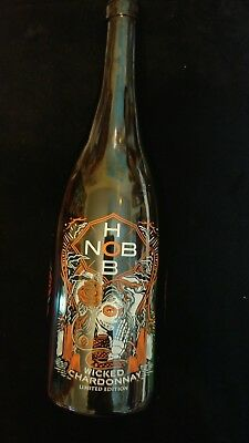 Hob Nob wicked chardonnay 2014 EMPTY wine bottle etched limited edition