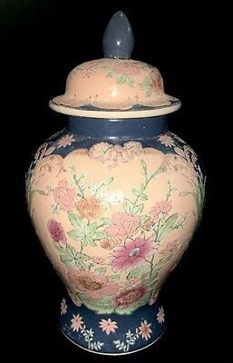 Vintage Hand Painted Chinese Urn, Vase with Lid Unknown Maker, Tall