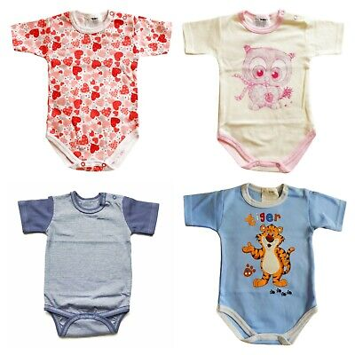 BABY GIRL BOY BODYSUITS SHORT SLEEVE 0-24 Months LOVELY PRINTS! 100% SOFT COTTON