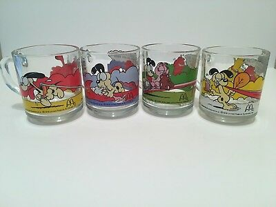Vintage GARFIELD Glass Mugs MCDONALD'S Drinking Glasses ~ 1978 - 1980